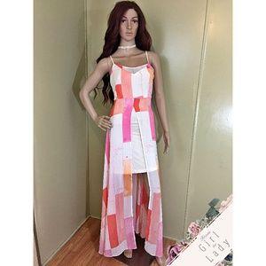 CATO Sz 10 Color Block High Low Dress